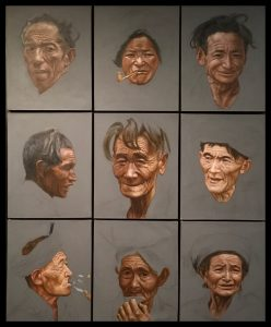 "CONTEMPORARY: ""Nine Faces Of Tibet"", Cheng Yu Pai 1972, Acryl u. Bleistift auf Leinwand."
