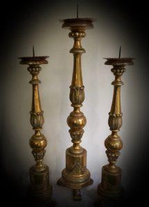 Dreiersatz Kerzenständer, Italien um 1800.